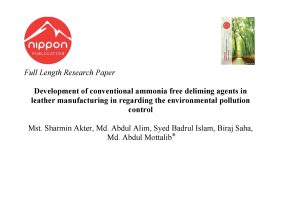 Development of conventional ammonia free deliming agents in leather manufacturing in regarding the environmental pollution control