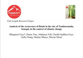 Analysis of the recurrence of floods in the city of Tambacounda, Senegal, in the context of climate change